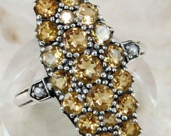 REDUCED! Art Nouveau, CITRINE and Pearl Ring set in Sterling Silver!