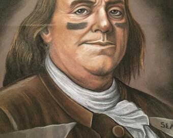 Benjamin Franklin oil pastel artwork