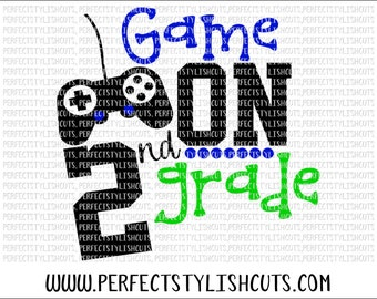 Game On 2nd Grade SVG, DXF, EPS, png Files for Cutting Machines Cameo or Cricut - Back To School Svg, Boy Svg, 1st Day Of School Svg