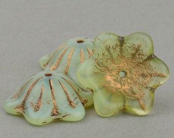 Czech Glass Wide Bellflower Beads - Flower Beads - Green Opaline with Dark Bronze Wash - 12x11mm - 5 or 30 Beads