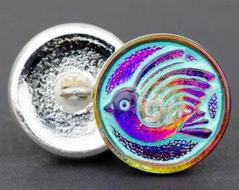 Czech Glass Button, Round Bird Design, Purple/Pink Iridescent with Turquoise Wash, 18mm