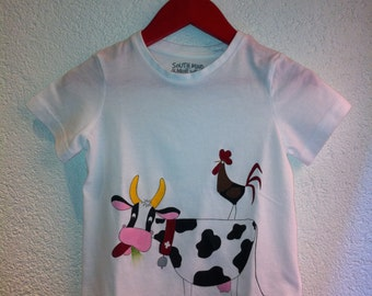 T-shirt for children with cow and rooster