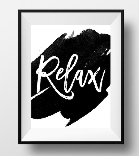 Bathroom Wall Art Relax : Relax print bathroom wall art black by