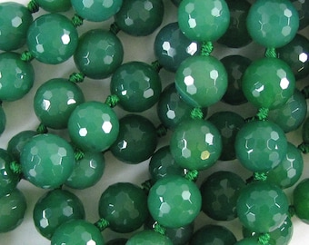"12mm faceted green onyx round beads 6.5"" strand 10075"