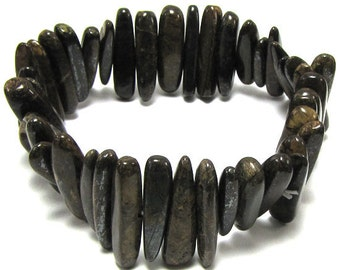 "25mm brown bronzite stick stretch bracelet 8"" 30247"
