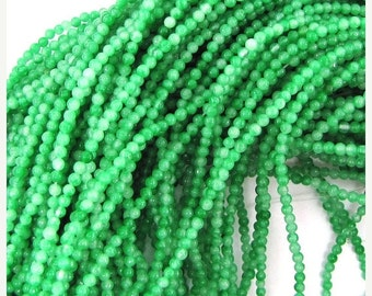 """40% CLEARANCE 2mm jade round beads 15"""" strand seed green 30219"""