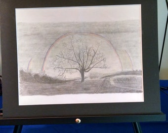 Rainbow Over Tree 8x10 print matted to 11x14