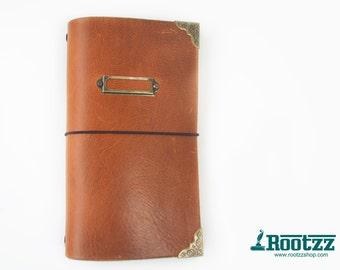 RG XL Traveler's notebook cognac name tag - midori like- fauxdori