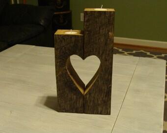 Rustic candle holder, Wedding centerpiece, valentine gift, wooden, home decoration