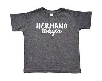Hermano/Hermana Mayor Toddler Short-Sleeve Tee, Baseball Tee, & Onesie | Spanish Español Big Older Brother Sister Sibling T-Shirt