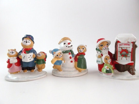 Vintage Collectibles Figurines Resin Figurines Avon Forest Friends Figurines Miniatures Figurines Christmas Decoration Holiday Decoration