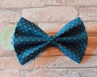 "Bow Tie Bowtie ""Polka Dots Petrol"" for dogs, cats or other pets, dots on petrol blue"