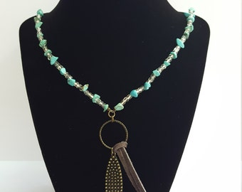 Beaded Suede Necklace With Pendant
