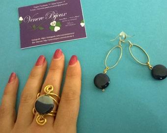 Golden blue agate sets