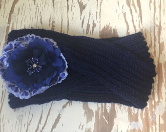 Ladies Knitted and Embellished Earwarmer/ Headwarmer / Headband in Navy with Flower Detail