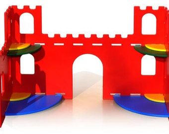 25,3 Inches Colourful Wooden Castle, wooden castle toy