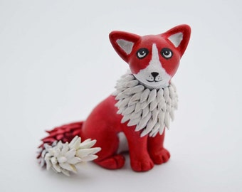 OOAK Handmade Polymer Clay Fantasy Red Cat Sculpture