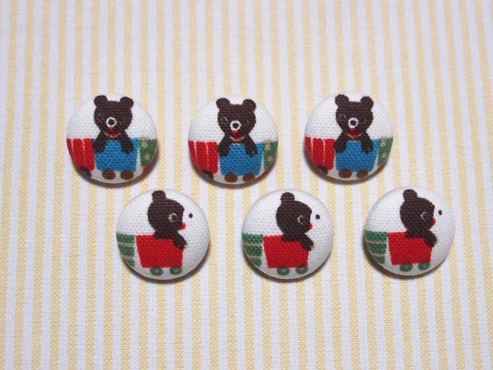 6 cute baby bear fabric covered buttons 20mm metal for Cute baby fabric