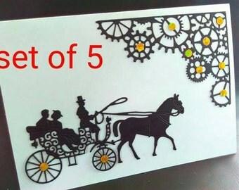 Set of 5, Handmade card, blank card, steampunk card, steampunk cards, paper cut card, horse card, steampunk Christmas, steampunk, card pack