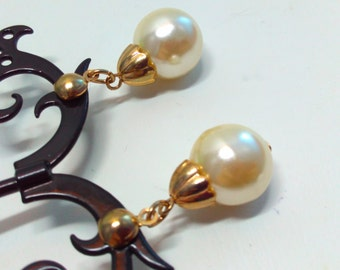 Vintage, vintage drop earrings, long earrings, vintage earrings, drop earrings, pearl earrings, dangle earrings, wedding earrings, goldtone