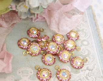 5 vintage light pink swarovski austrian AB crystals in brass setting 8mm crystal no.1212-9
