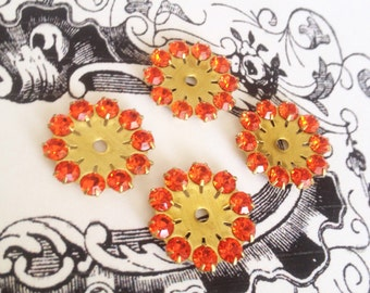 4 vintage orange hyacinth swarovski austrian crystals in brass setting 20mm no.mr301hy-7