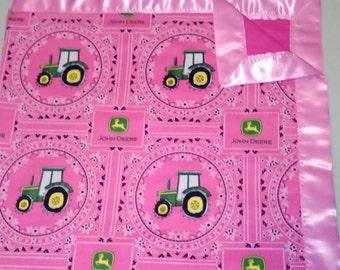 Pink and green John Deere baby/toddler Blanket. . Soft. Tractors