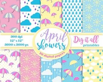 Rain digital paper pack. Umbrella digital scrapbook paper. April showers digital paper Spring paper pack. Cloud printable. Instant download.