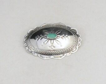 Sterling  Turquoise Brooch, Tribal Brooch, Silver Turquoise Brooch, Blue Turquoise Pin, Signed Turquoise Brooch      J1399