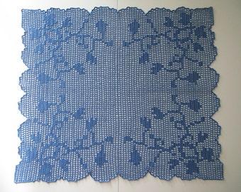 "Rectangular blue filet crochet  doily 14""x16.5"""