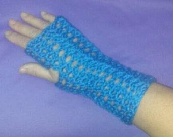 Crochet fingerless wrist warmers,  blue
