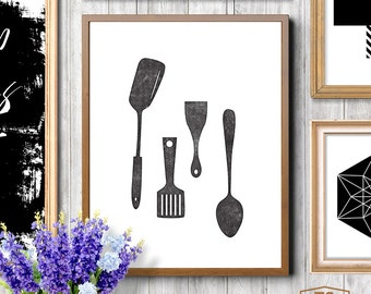 Kitchen art decor, Scandinavian print, kitchen utensils print, kitchen print, Scandinavian minimalist print, Scandinavian art housewares