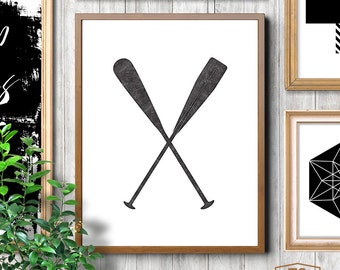 Minimalist affiche, paddles print, paddles art, paddles decor, nautical print, nautical printable art, boys nautical theme, boys room decor