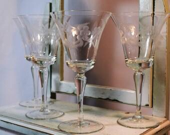 Vintage Stemware, Floral Etched Wine Glasses, Set of Four, Wedding Toast, Etched Stemware