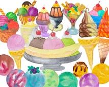 watercolor Ice Cream Clipart, icecream, summer, Illustration, Handpainted Clip art, birthday invitation, nursery, banana split, food art