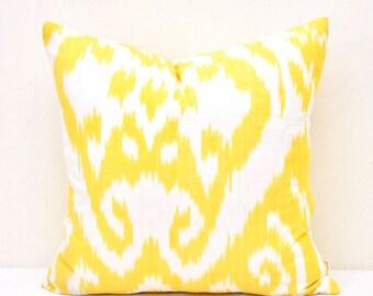 Yellow Ikat Pillow 16x16 - Ikat Pillow Cover -  Ikat Cushion Cover - Designer Ikat Pillow - Decorative Ikat Cushion Cover