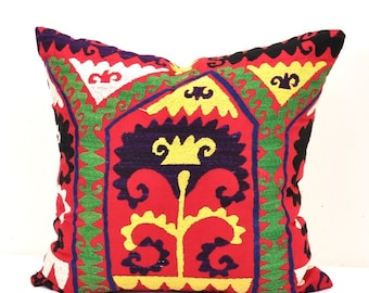 Embroidered Suzani Pillow Cover-Suzani Pillow-Vintage uzbek suzani pillow cover