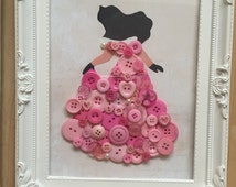 Sleeping beauty disney princess button art in shabby chic photo frame.
