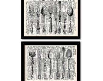 Antique Silverware Dictionary Page Print, Fork and Knife wall art print, Wall Decor set, 8x10 wall decal, Dictionary art print, Kitchen art