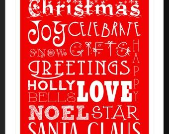 """Christmas Subway Art 8""""x10"""" Print"""