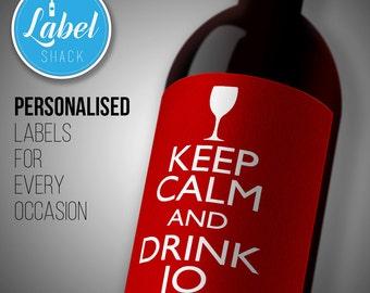 Personalised KEEP CALM wine bottle label-Ideal Celebration/Anniversary/Birthday/Wedding gift personalized bottle label