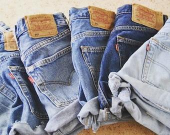 Vintage denim Levis 501 shorts all sizes
