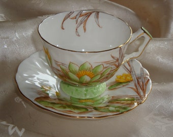 Aynsley England Crocus Shape Water Lilies Cup and Saucer ~ Pattern A3560