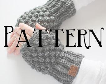 SALE | PATTERN Puff Stitch Wrist Warmers | Crochet Fingerless Gloves | Texting Gloves | Mittens