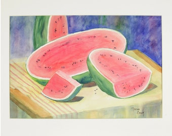 ORIGINAL painting, watercolor, signed, still life, fruit, watermelon, gift art, 18x24/mounted 22x28