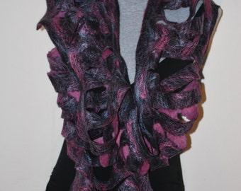 SALE 50% off Felted Eco Superfine Merino Wool,Tussah Silk Scarf OOAK