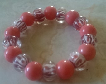 Peach & White Beaded Bracelet