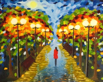 Original Oil Painting Night Walk Girl in the Park City scape Lanterns Autumn mosaic palette knife painting cityscape Contemporary Art