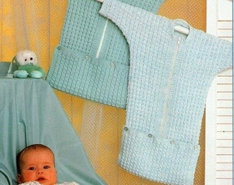 PDF Knitting Pattern for a Easy Knit/Novice Knit Babies Sleeping Bag or Cocoon - Instant Download