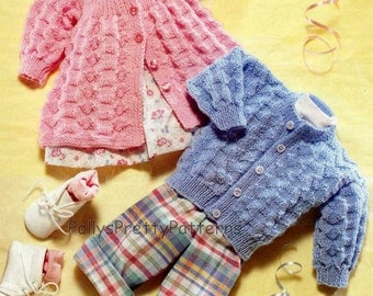 """PDF Knitting Pattern for Matinee Jacket and Cardigan 14-20"""" Chests  - Instant Download"""